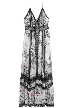 NICHOLAS Chantilly lace-trimmed floral-print silk-chiffon maxi dress