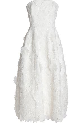 NICHOLAS Strapless floral-appliquéd guipure lace midi dress