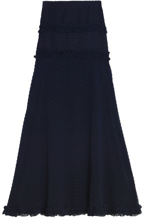 NICHOLAS Ruffle-trimmed fil coupé chiffon maxi skirt