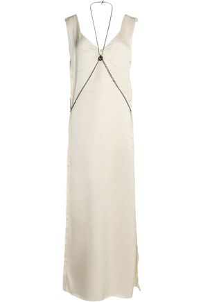 CALVIN KLEIN COLLECTION Chain-embellished frayed satin maxi dress