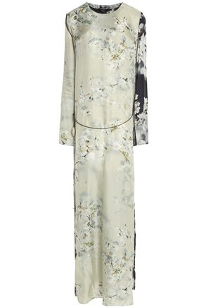 CALVIN KLEIN COLLECTION Chain-embellished floral-print satin gown