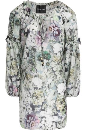NICHOLAS Ruffle-trimmed floral-print cotton and silk-blend tunic
