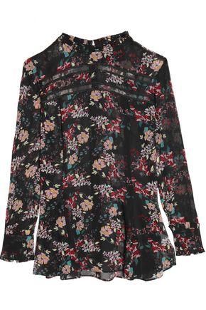 NICHOLAS Lattice-trimmed floral-print silk-chiffon peplum blouse