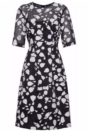 LELA ROSE Crinkled fil coupé organze dress