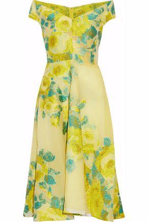 LELA ROSE Off-the-shoulder fil coupé organza dress