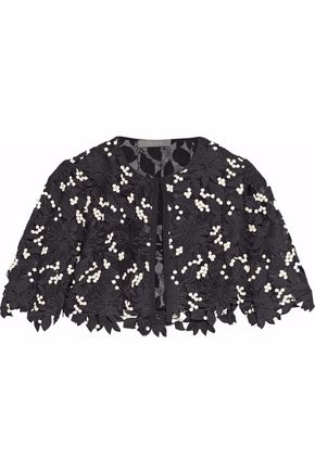 LELA ROSE Cropped grosgrain-trimmed layered guipure lace and organza jacket