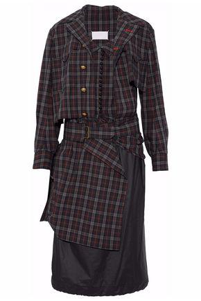 MAISON MARGIELA Convertible checked cotton-poplin and shell dress