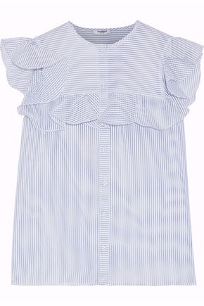 VILSHENKO Ruffled striped cotton-blend seersucker top