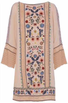 ALICE+OLIVIA Crochet-paneled embroidered gauze mini dress