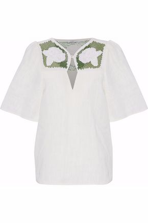 VILSHENKO Embroidered lattice-paneled cutout linen top