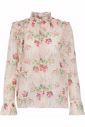 VILSHENKO Ruffled floral-print cotton and silk-blend blouse