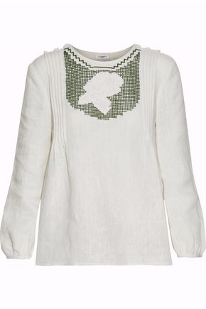 VILSHENKO Embroidered lattice-paneled linen top