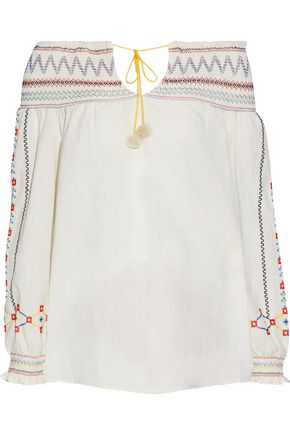 VILSHENKO Off-the-shoulder embroidered cotton-gauze top