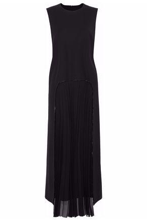 MAISON MARGIELA Pleated crepe de chine-paneled wool-blend twill maxi dress