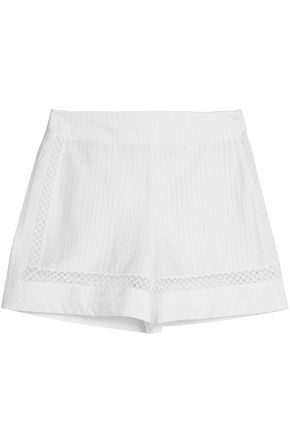 OSCAR DE LA RENTA Open knit-trimmed broderie anglaise cotton-blend shorts