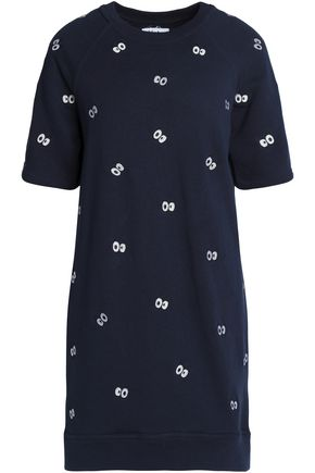 ZOE KARSSEN Embroidered cotton-terry mini dress
