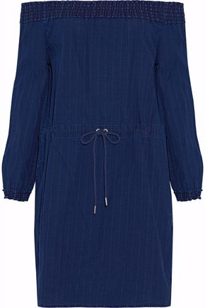 RAG & BONE Off-the-shoulder cotton-chambray mini dress