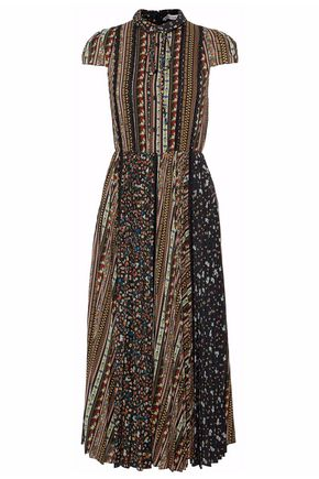 ALICE+OLIVIA Lace-trimmed pleated printed voile midi dress