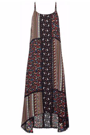 ALICE+OLIVIA Merle patchwork-effect printed crepe midi dress
