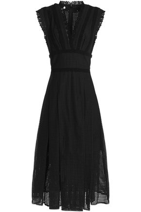 OSCAR DE LA RENTA Layered broderie anglais cotton-poplin midi dress