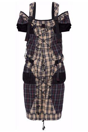 MAISON MARGIELA Cold-shoulder mesh-paneled checked cotton-poplin mini dress