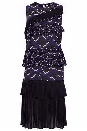 MARKUS LUPFER Tiered printed silk crepe de chine dress