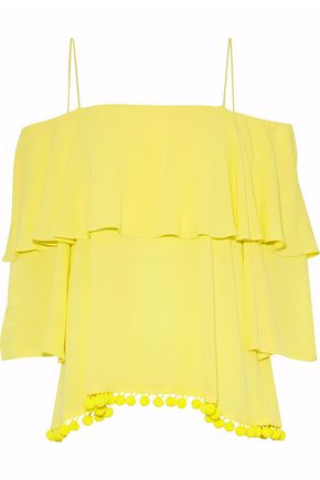 ALICE + OLIVIA Cold-shoulder ruffled gauze top