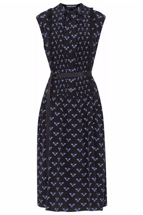MARKUS LUPFER Pussy-bow printed silk crep de chine midi dress