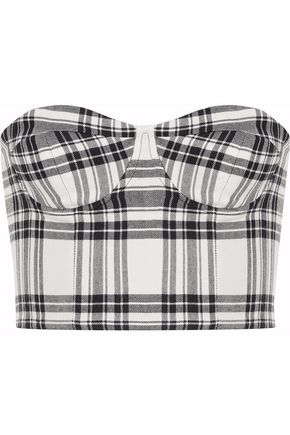ALICE + OLIVIA Strapless checked twill bustier top