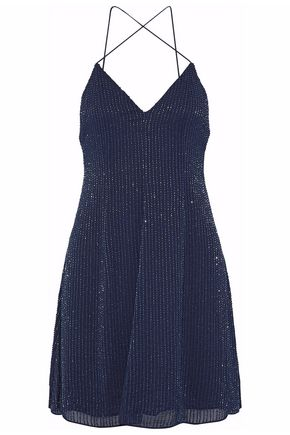 ALICE + OLIVIA Beaded silk-chiffon mini dress