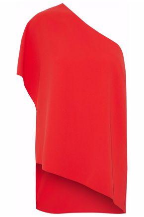 ALICE + OLIVIA Asymmetrical one-shoulder crepe top