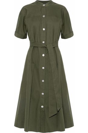 VANESSA SEWARD Belted pleated cotton-twill midi shirt dress