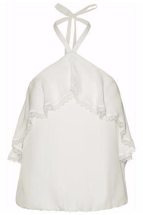 WOMAN MONET RUFFLE-TRIMMED SILK HALTERNECK TOP IVORY