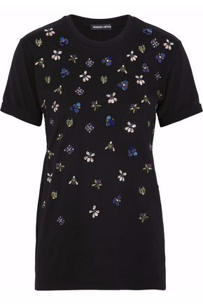 MARKUS LUPFER Embellished cotton-jersey top