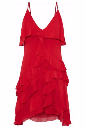 ALICE + OLIVIA Ruffled crinkled chiffon mini dress