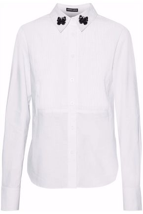 MARKUS LUPFER Embellished embroidered cotton-poplin shirt