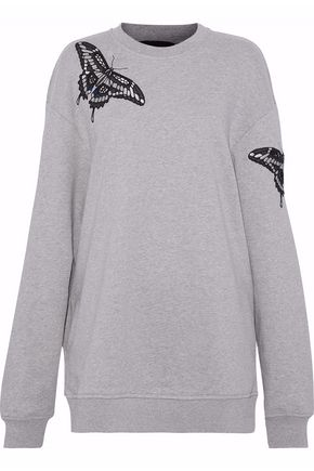 MARKUS LUPFER Cutout embroidered cotton-terry sweatshirt
