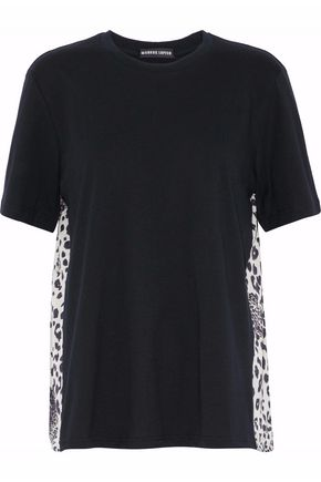 MARKUS LUPFER Paneled leopard-print silk and cotton-jersey top