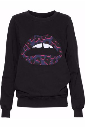 MARKUS LUPFER Appliquéd cotton-terry sweatshirt