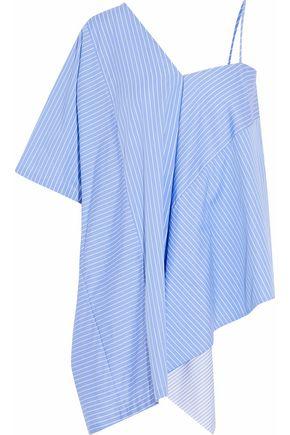 MAISON MARGIELA Asymmetric striped cotton-poplin top