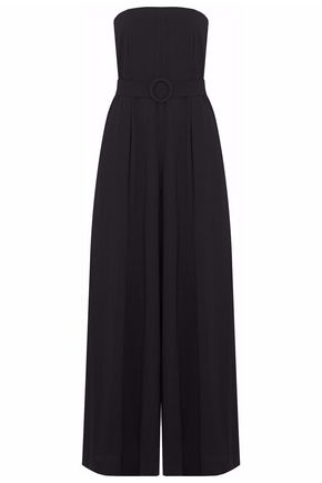 NICHOLAS Strapless belted pleated wide-leg jumpsuit