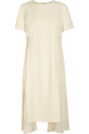 MAISON MARGIELA Pleated chiffon-paneled stretch-wool dress