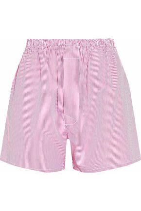 Woman Striped Cotton-Poplin Shorts Red