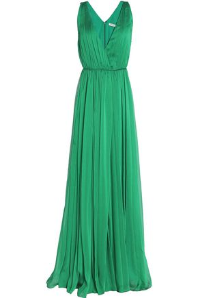 HALSTON HERITAGE Wrap-effect pleated crepon gown