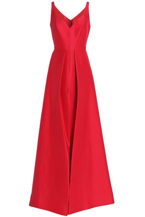 HALSTON HERITAGE Pleated cotton and silk-blend duchesse-satin gown
