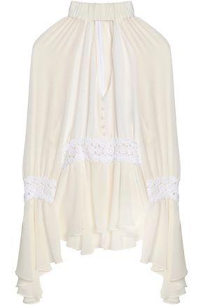 NICHOLAS Crochet-trimmed cutout silk peplum blouse