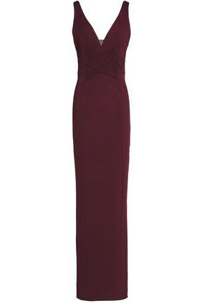 NICHOLAS Macramé-trimmed fluted stretch-ponte gown