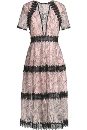 NICHOLAS Lace-up appliquéd guipure lace midi dress