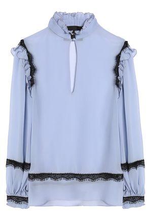 NICHOLAS Ruffle and lace-trimmed silk-crepe de chine blouse