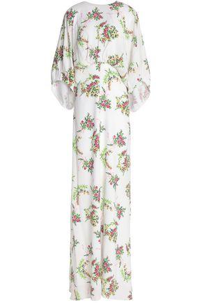 EMILIA WICKSTEAD Draped floral-print crepe de chine gown